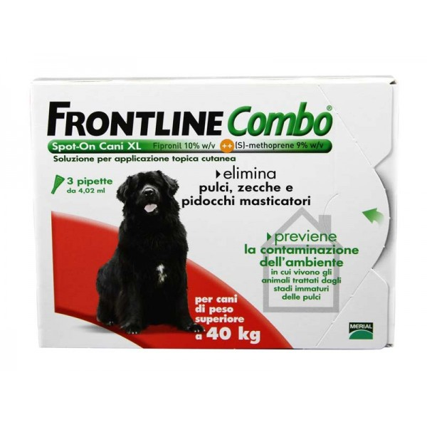 Frontline Combo Soluzione Spot-On Cani Taglia Molto Grande <40 kg 3 Pipette Monodose