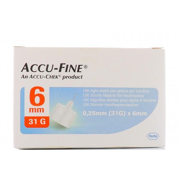 Accu-Chek Ago Accu-Fine 31G 6mm Ago per Penna Insulina 100 Pezzi
