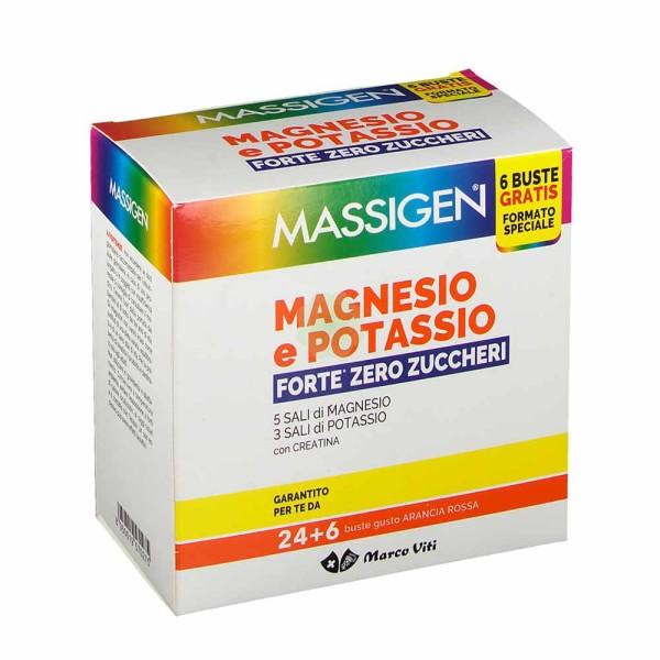 Massigen Viti Magnesio e Potassio Forte Senza Zucchero Integratore Alimentare 24 + 6 Buste