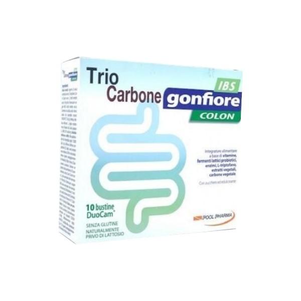 Trio Carbone Gonfiore Colon IBS 10 Bustine -  Integratore di Fermenti Lattici