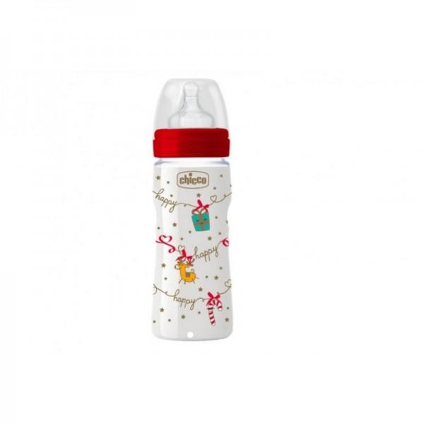 Chicco Biberon Benessere Silicone in Polipropilene  Natale 250 ml