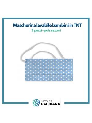 Mascherina Lavabile bambini in TNT colore Pois Azzurro 2 pezzi