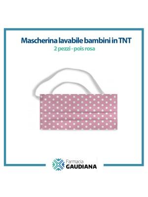 Mascherina Lavabile bambini in TNT colore Pois Rosa 2 pezzi