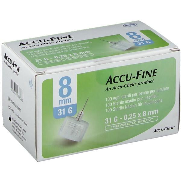 Accu-Chek Ago Accu-Fine 31G 8mm Ago per Penna Insulina 100 Pezzi