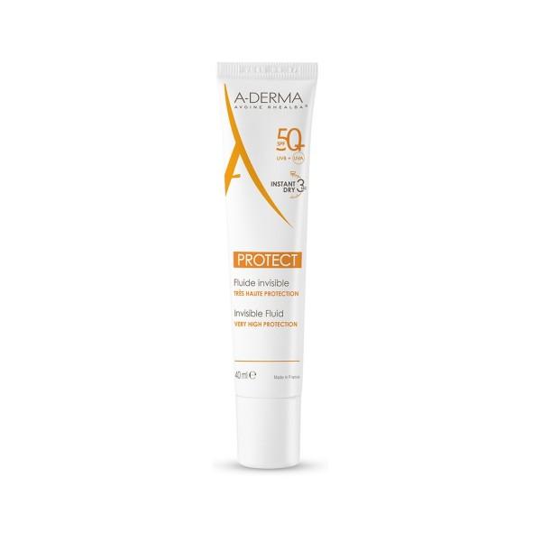 A-Derma Protect Solare Fluido Invisibile SPF 50+ Protezione Viso 40 ml