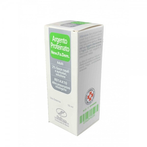 New.Fa.Dem. Argento Proteinato 2% Gocce Nasali e Auricolari 10 ml