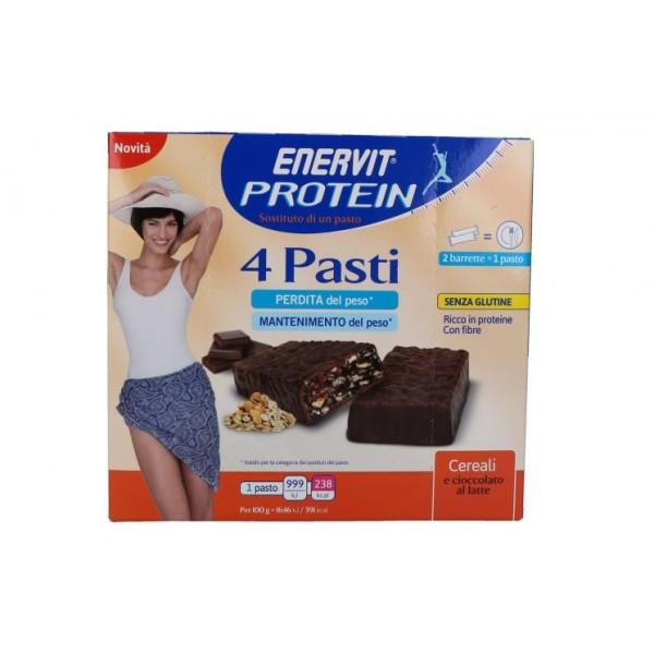 Enervit Protein 4 Pasti Barrette Sostitutive Pasto Cereali Cioccolato e Latte 8 pezzi