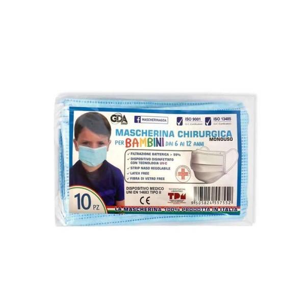 Mascherina Chirurgica per Bambini 6-12 anni GDA 10 pezzi