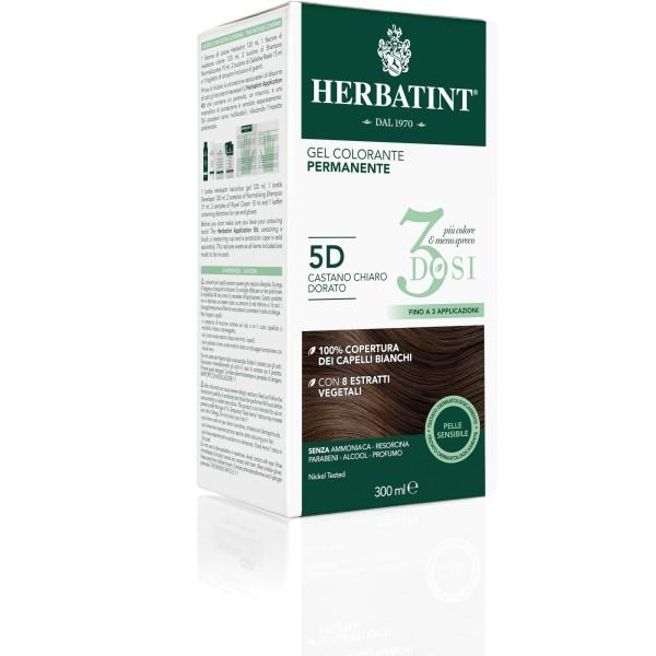 Herbatint Tintura per Capelli Gel Permanente 3 Dosi 5D Castano Chiaro Dorato 300 ml