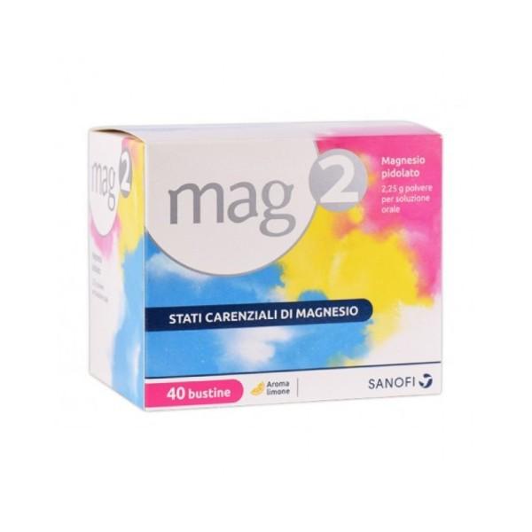 Mag2 2,25 grammi Magnesio Pidolato 40 bustine