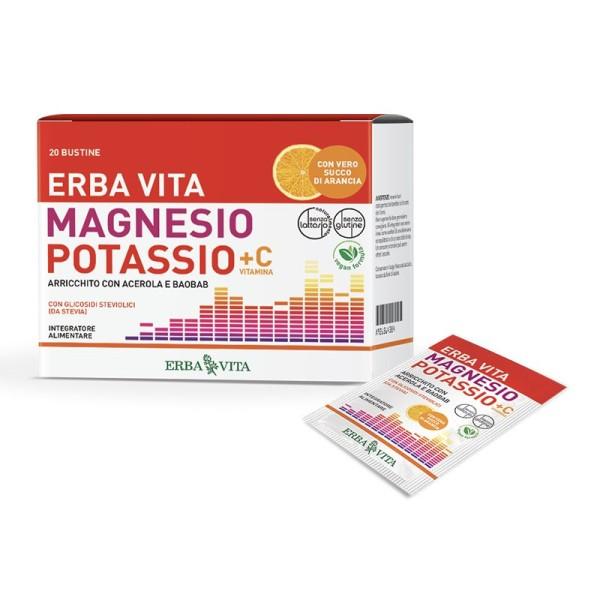 Erba Vita Magnesio e Potassio + Vitamina C 20 Bustine - Integratore Multivitaminico e Sali Minerali