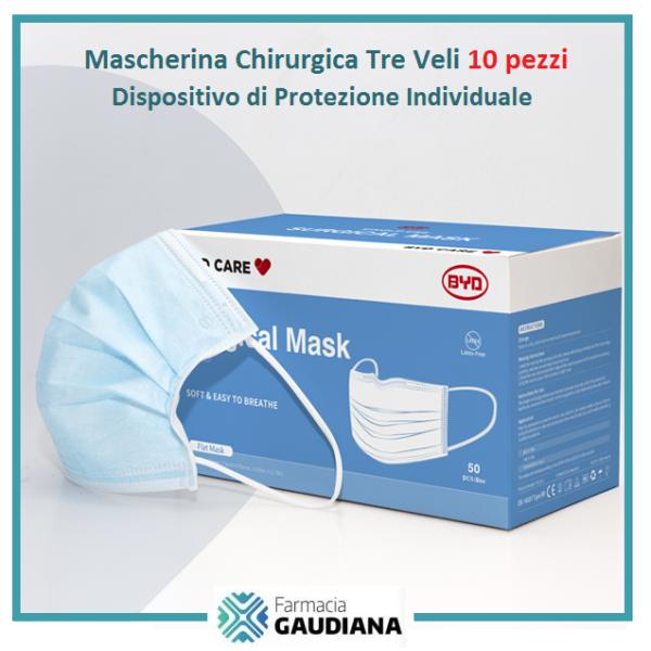 Mascherina Chirurgica DPI Tre Veli Protezione Civile - confezione da 10 pezzi