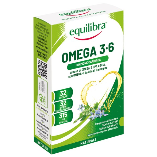 Equilibra Omega 3-6  32 Perle - Integratore Benessere Cardiovascolare