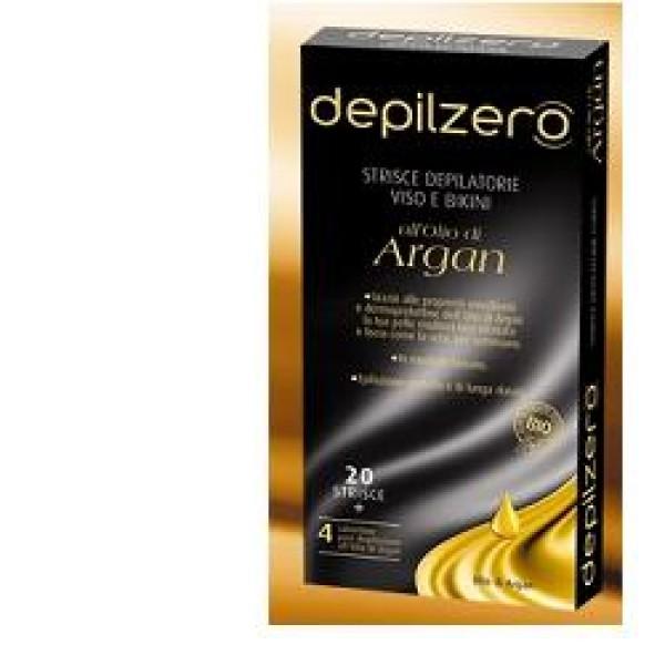 Depilzero Argan Strisce Depilatorie Viso all'Olio di Argan 20 pezzi