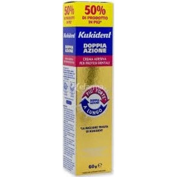 Kukident Plus Doppia Azione Crema Adesiva Protesi Dentali Gusto Menta Light 60 grammi