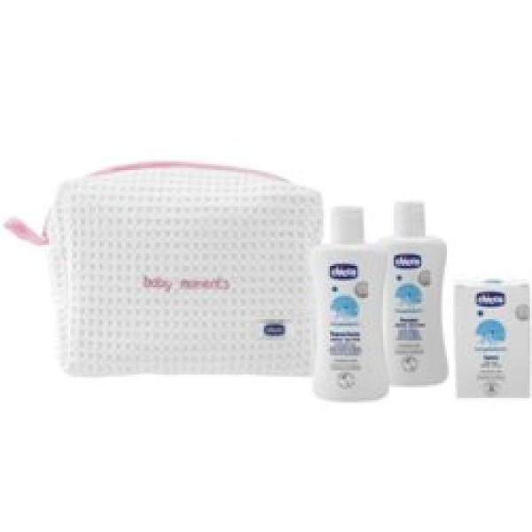 Chicco Baby Moment Gift Idea Beauty Case con Zip Rosa  Neonati 3 pezzi