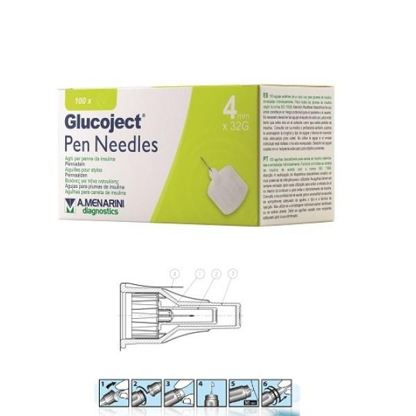 Glucoject Pen Needles 32g 4mm Aghi per Penne da Insulina 100 pezzi