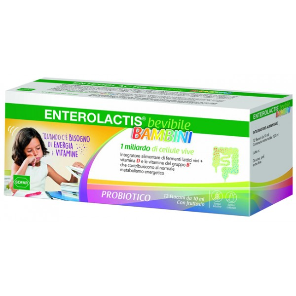 Enterolactis Bambini Fermenti Lattici 12 Flaconcini 10ml