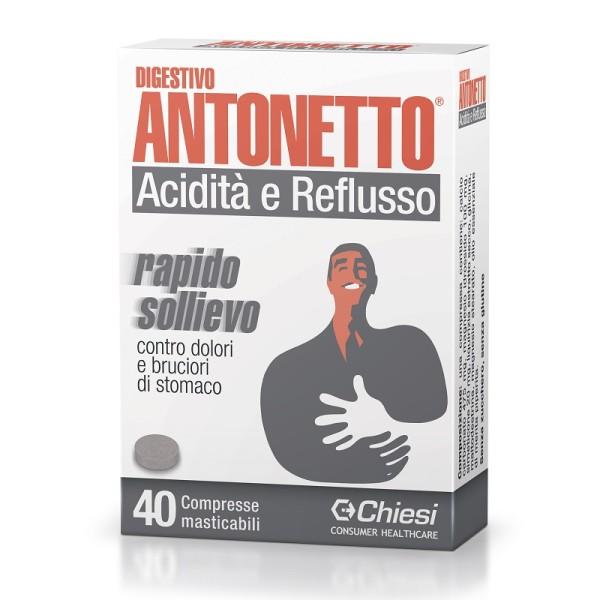 Digestivo Antonetto Acidità e Reflusso Integratore 40 Compresse Masticabili