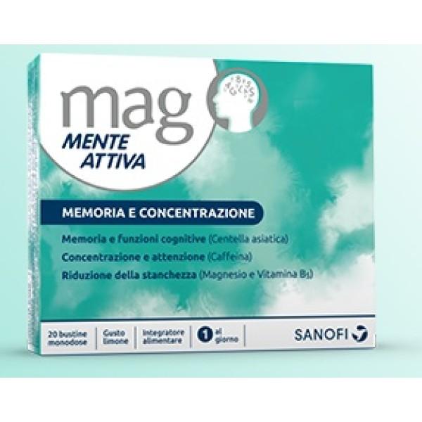 Mag Mente Attiva 20 bustine - Integratore per Memoria e Concentrazione