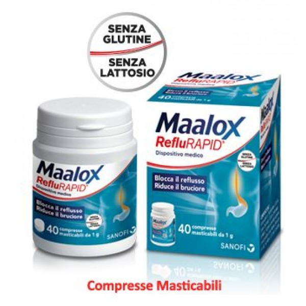 Maalox Reflurapid Integratore per Reflusso e Bruciore 40 Compresse Masticabili