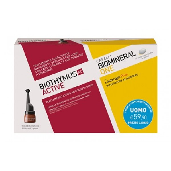 Biothymus AC Active Uomo 10 Fiale + Biomineral One Lactocapil Plus 30 compresse