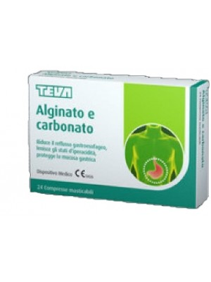Teva Alginato e Carbonato 24 Compresse Masticabili - Integratore Benessere Gastrointestinale