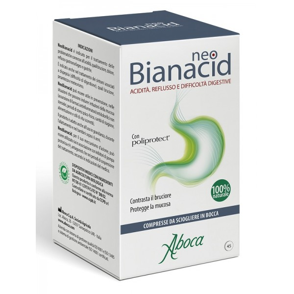 Aboca NeoBianacid 45 Compresse Masticabili - Integratore Acidita' e Reflusso