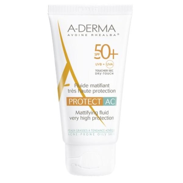 A-Derma Protect AC Fuido Solare Opacizzante SPF 50+ Tubo 40 ml