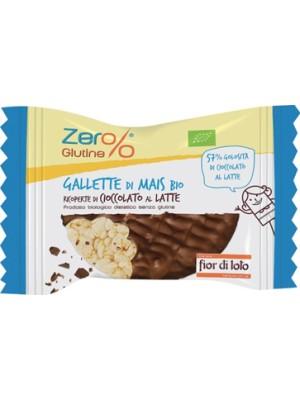 Fior di Loto Zero% Glutine Gallette di Mais Ricoperte di Cioccolato al Latte Bio 32 grammi