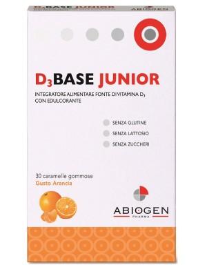 D3 Base Junior 30 Caramelle - Integratore di Vitamina D3 Gusto Arancia