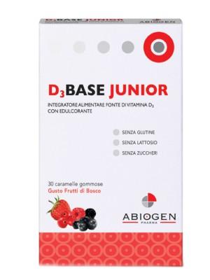 D3 Base Junior 30 Caramelle - Integratore di Vitamina D3 Gusto Frutti di Bosco