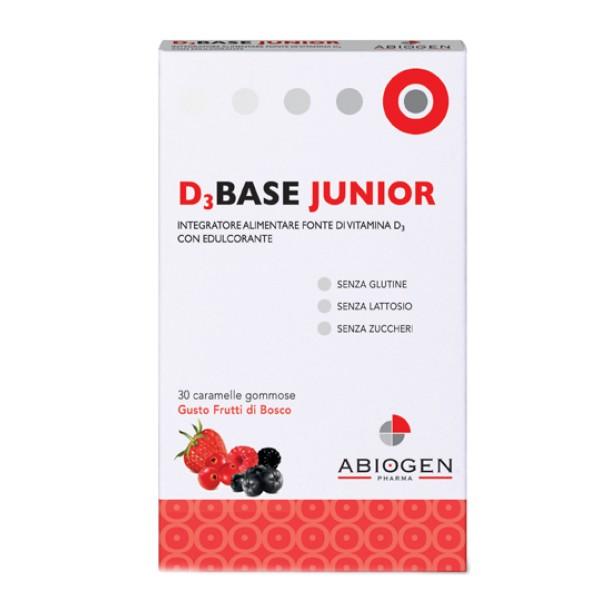 D3 Base Junior Integratore di Vitamina D3 Gusto Frutti di Bosco 30 Caramelle