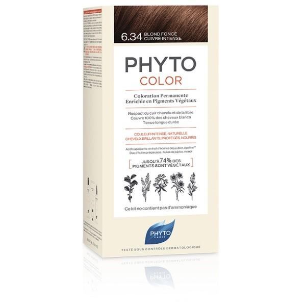 Phytocolor 6.34 Biondo Scuro Ramato Intenso - Tintura Permanente per Capelli