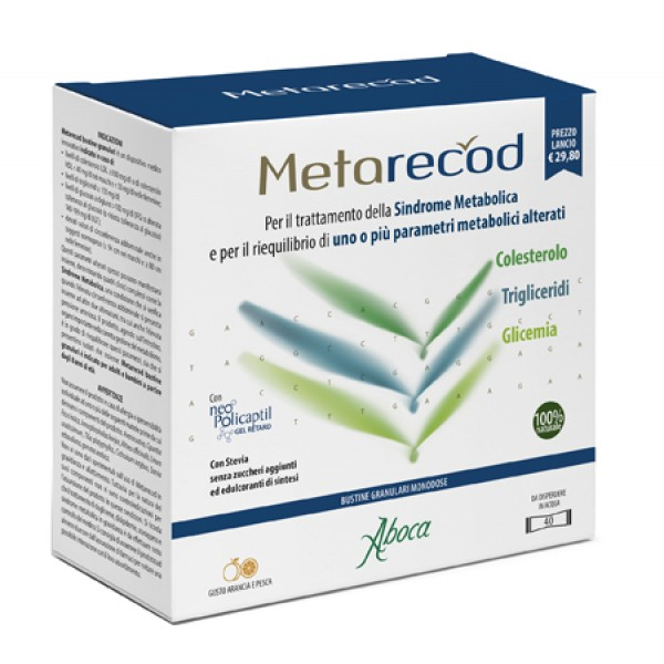Aboca Metarecod Granulato 40 Bustine Monodose - Integratore Metabolismo dei Trigliceridi e Colesterolo
