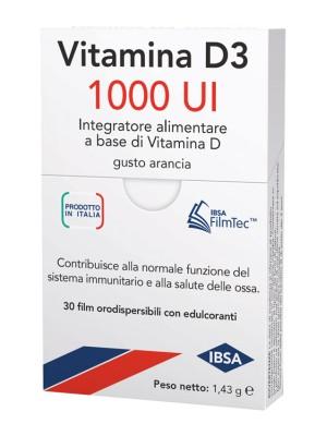 Vitamina D3 1000 UI IBSA 30 Film Orodispersibili - Integratore di Vitamina D3