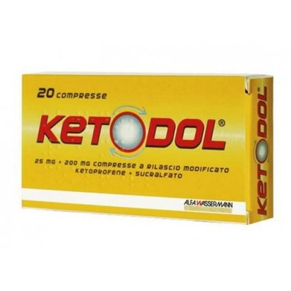 Ketodol 25 mg + 200 mg Antinfiammatorio Mal di Testa e Mal di Denti 20 Compresse