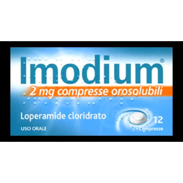 Imodium 2 mg Loperamide Cloridrato Diarrea 12 Compresse Orosolubili