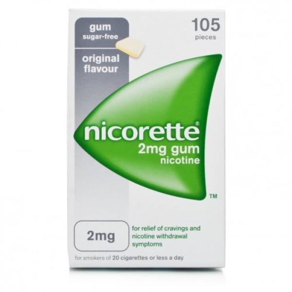 Nicorette 2 mg Gomme Masticabili per Smettere di Fumare 105 pezzi