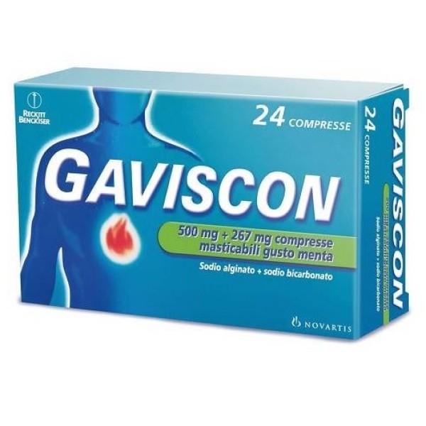 Gaviscon Aroma Menta 500 mg + 267 mg 24 Compresse Masticabili