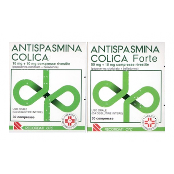 Antispasmina Colica Forte 50 mg + 10 mg Papaverina Belladonna 30 Compresse