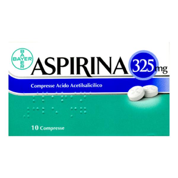 Aspirina Acido Acetilsalicilico 10 Compresse 325 mg