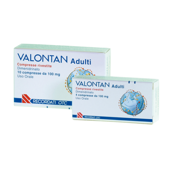 Valontan Adulti 100 mg Dimenidrinato Antinausea 10 Compresse Rivestite
