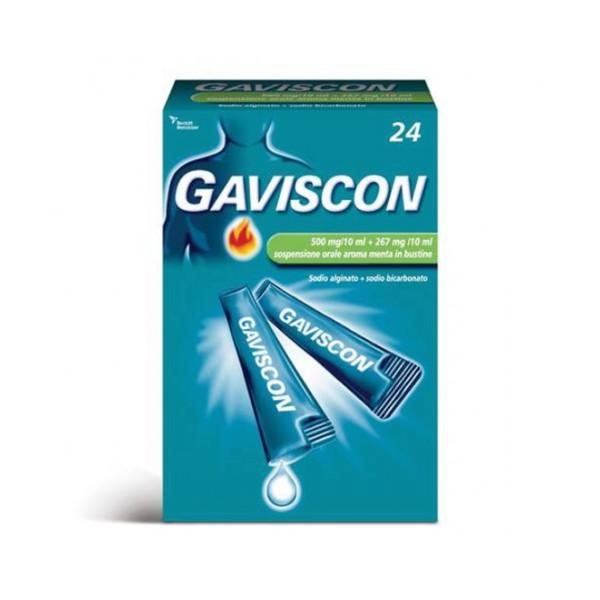 Gaviscon Sospensione Orale Aroma Menta 500 mg + 267 mg 24 Buste