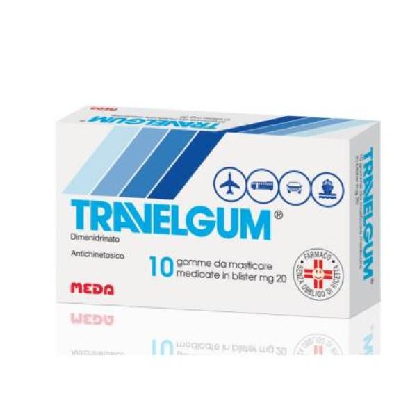 Travelgum 20 mg Dimeninidrinato Antichinetosico 10 Gomme Masticabili