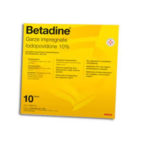 Betadine 10% Iodopovidone Garze Impregnate 10 x 10 cm