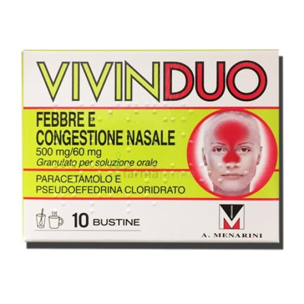 VivinDuo Febbre e Congestione Nasale 500mg/60mg 10 Buste