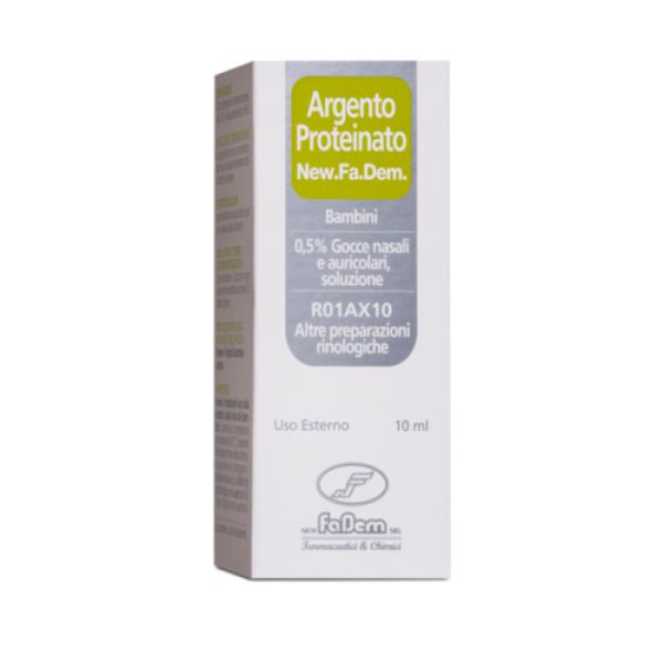 New.Fa.Dem. Argento Proteinato 0,5% Gocce Nasali e Auricolari Bambini 10 ml