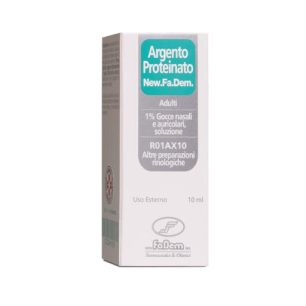 New.Fa.Dem. Argento Proteinato 1% Gocce Nasali e Auricolari 10 ml