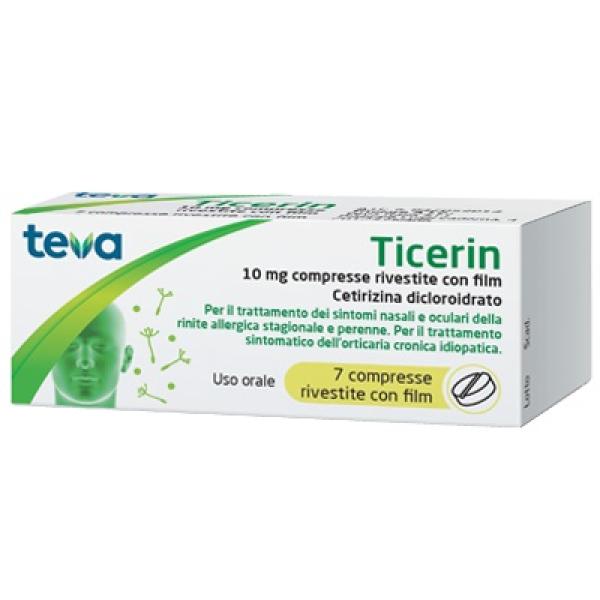 Teva Ticerin 10 mg Cetirizin Dicloroidrato Antistaminico 7 Compresse Rivestite
